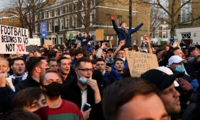 Chelsea fans protest ESL outside Stamford Bridge