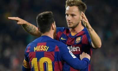 Ivan Rakitic refers Lionel Messi to a video game