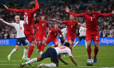 Football players on Sterling's penalty during Euro 2020 semi-final win